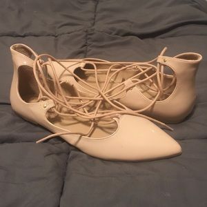 Nude lace flats!